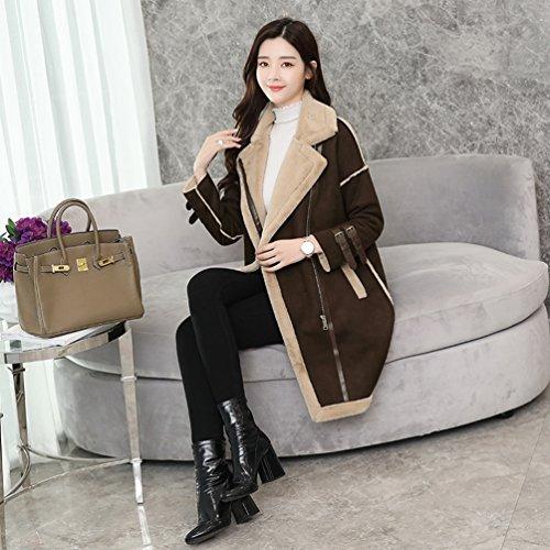 Chaqueta Casual WanYang Casual Elegante Abrigos de de y de para e Café Invierno Abrigo Invierno Moda Otoño Mujer dBC1q