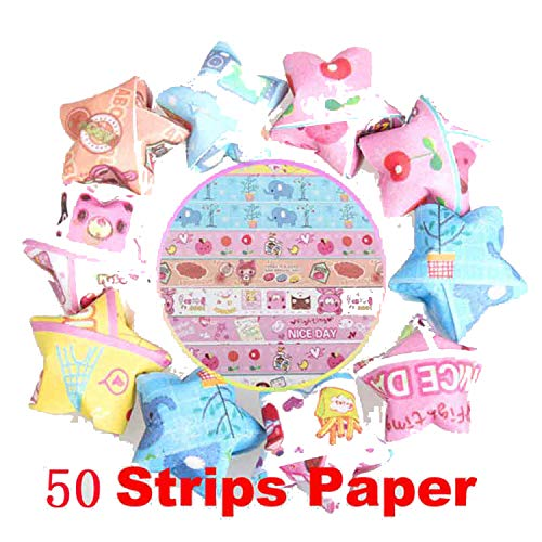 50 Strips Origami Paper Folding Kit Lucky Star Origami Wish Star Best Gift Handmade Beautiful Decorative Craft Paper Supplies