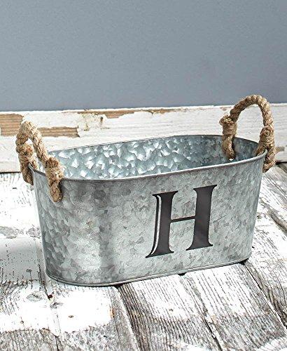 The Lakeside Collection Galvanized Monogram Bucket - H