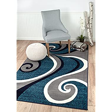 New Summit # 32 Swirl Blue Navy White Light Gray Area Rug Abstract Carpet Sizes Available 2x3 2x7 4x6 5x8 8x10 (5X8 ACTUAL IS 4'10'' X 7'.2'')