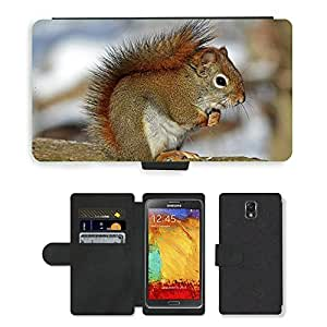 Hot Style Cell Phone Card Slot PU Leather Wallet Case // M00108271 Red Squirrel Rodent Nature Wildlife // Samsung Galaxy Note 3 III N9000 N9002 N9005