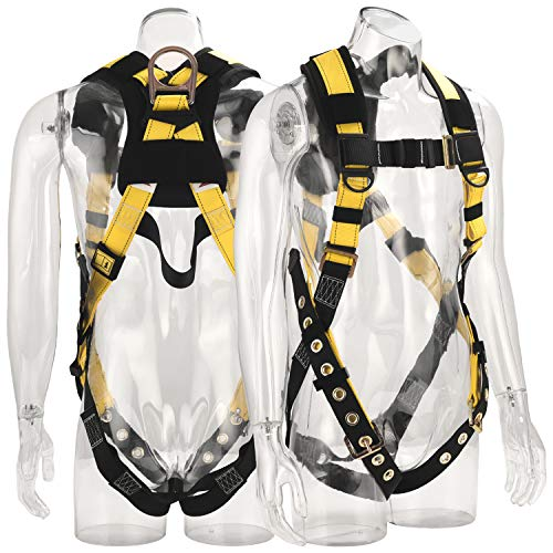 WELKFORDER 1D-Ring Industrial Fall Protection Safety Harness With Leg Tongue Buckles | Shoulder Pad Support ANSI Compliant Full Body Personal Protection Equipment