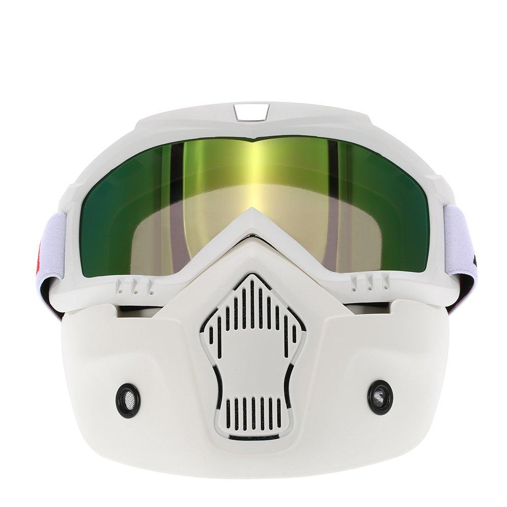 KKmoon Masque de Moto Lunettes D/étachables et Filtre de Bouche pour le Casque de Visage Ouvert Snowboard de Ski Motocross