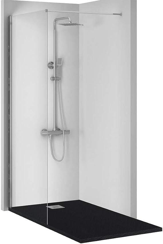 Conjunto de 3 PIEZAS: Plato de ducha de resina 140x75 Negro+ Panel fijo de cristal 90 cms+ Conjunto de ducha termostatico: Amazon.es: Bricolaje y herramientas
