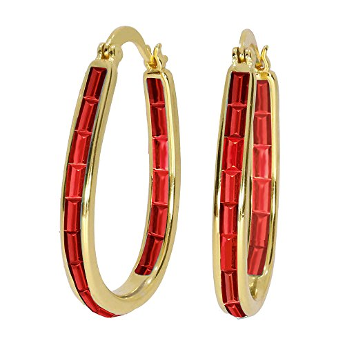 Womens Crystal Inside Out Oval Shape Hoop Earrings, Fashion Hoop Earrings For Women, Womens Hoop Earrings (Rectangle Red)