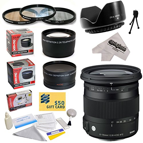 Sigma 17-70mm f/2.8-4 DC Macro TSC OS HSM Lens For The Pentax ist D, ist DS, ist DS2, ist DL, ist DL2, K10D, K20D, K-m, K-r, K-x, K-5, K-7, K100D/K110D, K100D Super, & K200D DSLR Cameras Includes 3 Year Extended Lens Warranty + 0.43x High Definition II Wi by Sony