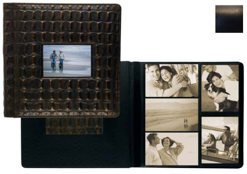 RODEO BLACK pebble grain leather #113 window album with 5-at-a-time pages by Raika - 4x6 by Raika®