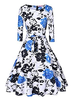 V fashion Women's 1950's Long Sleeves Vintage Floral Swing Party Dress Spring Garden Tea Dress With Defined Waist Design