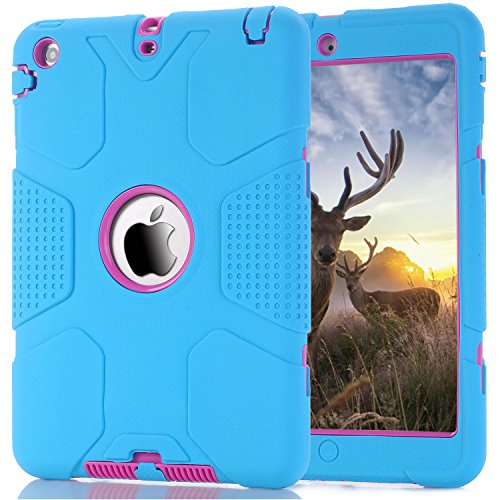 iPad Mini Case, iPad Mini 2/3 Case, Speedup 3in1 Shockproof Hybrid Case Hard Cover PC+Silicone Full Body Protective High Impact Defender Cover For iPad Mini/ iPad Mini 2/ iPad Mini 3 (Blue / Rose (Easy Halloween Finger Foods)