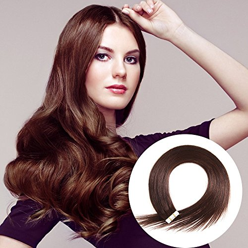 Tape in Human Hair Extensions 22 inches 20pcs 50g Silky Straight Human Hair Extensions Color No.2 Darkest Brown