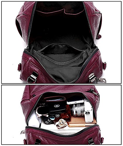 moda señoras borlas lavado Mujer cartera PU de cuero bolsa Rojo mochila UTO con bolso 3 mochila hombro OqxgS