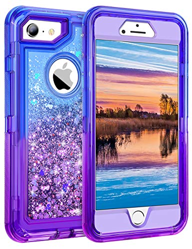 Coolden Case for iPhone 6S Plus Case Protective Glitter Case for Women Girls Cute Bling Sparkle Heavy Duty Hard Shell Shockproof TPU Case for 5.5 Inches iPhone 6 Plus 7 Plus 8 Plus, Blue Purple (Colorful Iphone 6plus Cases)