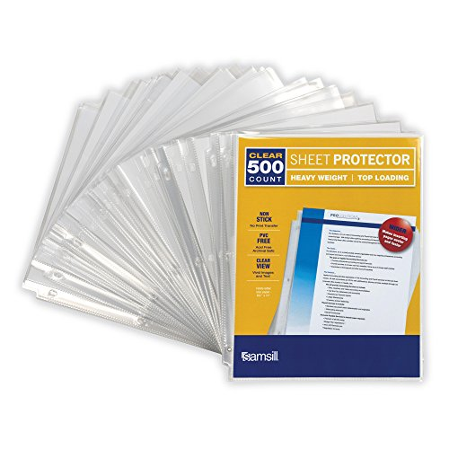 Samsill Heavyweight Clear Recycled Sheet Protectors, Box of 500, 40 Percent Post Consumer Recycled Content, Acid Free, Archival Safe, 8.5 x 11 Inches, Top Load (Presentation Binder Recycled)