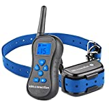 K9KONNECTION-Remote-Controlled-Dog-Training-Collar-No-Bark-Control-1300-Range-100-Waterproof-Rechargeable-16-Levels-of-Shock-Vibration-and-Beep-Safe-for-All-Size-Dogs-Blue-Backlight-LCD