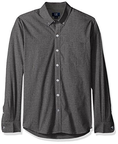 Cutter Dress Buck & Shirt Cotton (Cutter & Buck Men's Long Sleeve Non-Iron Heather Button Down Collared Shirt, Charcoal, Large)