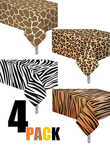 Baby Shower Party Theme (4 Pack Animal Safari Theme Zoo Print Table cover/Animal Theme Tablecloth Party Supplies/Ideal for Birthday parties, Animal Theme party, Baby Showers, Zoo Jungle Safari Themed)