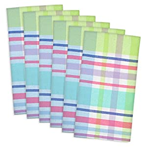 """DII 100% Cotton, Oversized Basic Everyday 20x20"""" Napkin Set of 6, Spring Plaid"""
