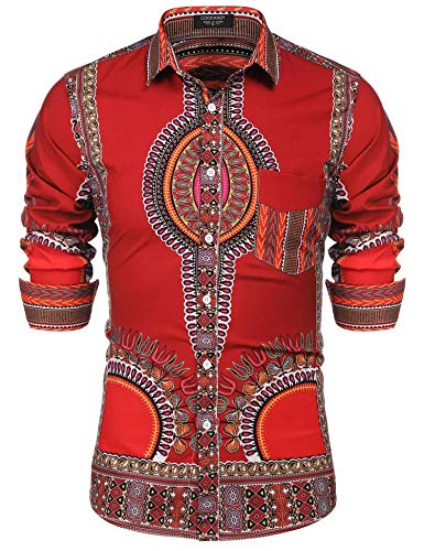 COOFANDY Men's Hip Hop Tribal Style African Dashiki Button Down Shirts,Wine Red,Small