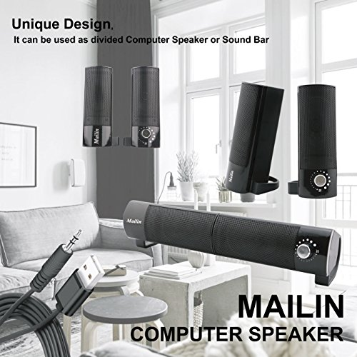 Mailin Detachable Computer Speaker, PC Speaker, Soundbar, Laptop Speaker, USB Power Supply 3.5mm Stereo Input, 5 Watts RMS Total Power with Volume Control (Black) by Mailin (Image #2)'