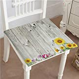 Antique Wooden Folding Deck Chairs Mikihome Chair Pads Squared Seat Antique Old Planks American Style Western Rustic Wooden and Sunflower, Flower, Grass Outdoor Dining Garden Patio Home Kitchen Office 16
