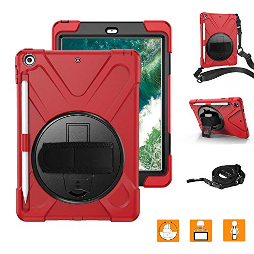 (HERIZE iPad 6th Generation Cases with Hand Strap,iPad 9.7 2018 Case Cover W/Pencil Holder,Three Layer Havy Duty Soft Silicone Hard Bumper Case W/Rotating Stand&Neck Strap for Model A1893,A1954,Red)