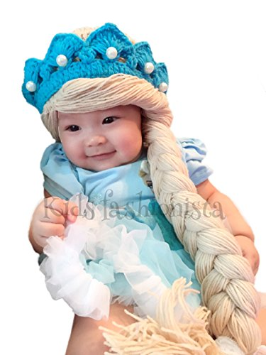 [Disney Elsa Frozen princess queen costume hat wig hair tiara baby girl ( medium)] (Anna Costume Ideas)