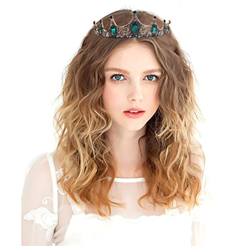 Catery Baroque Crowns Green Bride Queen Tiaras and Crowns for Women Decorative Princess Tiaras Hir Accessories for Prom