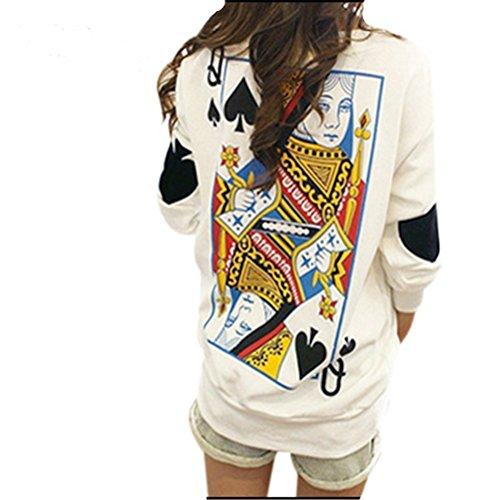 5-ALL Femmes Automne personnalité de la mode chaud drôle Poker shirt Pull