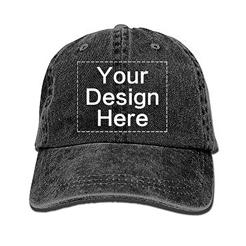 Mans Womens Personalized Vintage Dad Hat Design Your Own Black ()