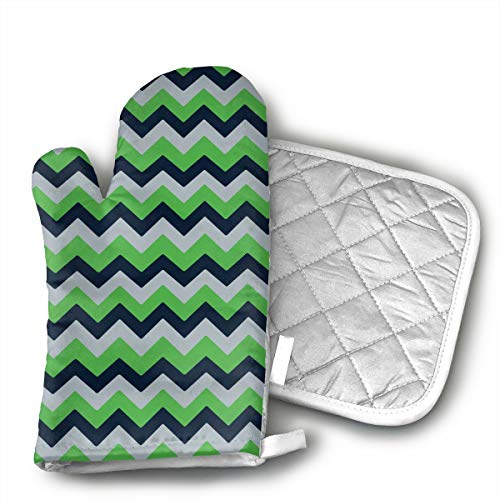 HEPKL Oven Mitts and Potholders Seattle Seahawks Chevron Non-Slip Grip Heat Resistant Oven Gloves BBQ Cooking Baking Grilling