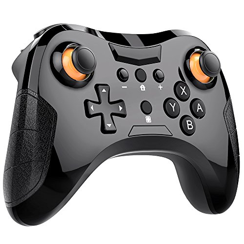 DinoFire Controller for Nintendo Switch, Bluetooth 6-Axis Somatosensory Switch Controller Wireless Game Remote Control Joystick Gamepad Support Motion Controls Built-in Motor Black