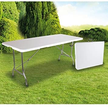 OSE Grande Table de Jardin Pliante Blanche 8 pers 180 cm -: Amazon ...