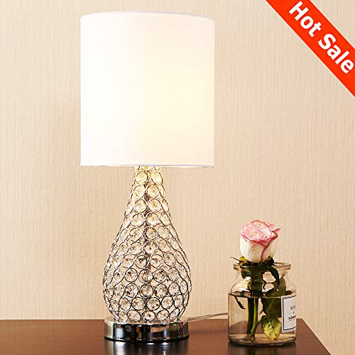 POPILION Alloy Crystal Base Elegant Appearance Crystal Table Lamp,Long Lampshade