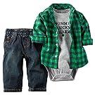 Carter's 2 Piece St Patty's Jean Set, Green/Black, 9 Months