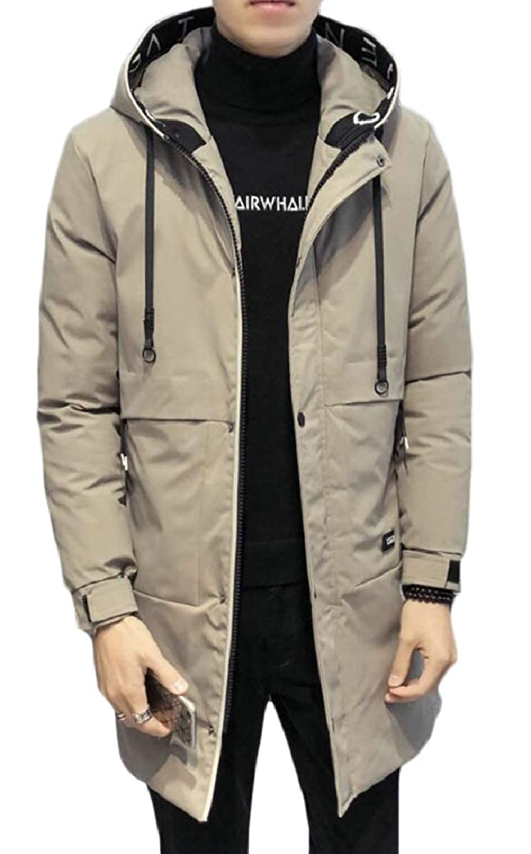 ONTBYB Mens Thick Quilted Winter Mid Long Length with Hood Hipster Down Jacket Coat
