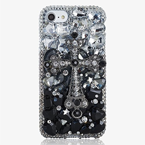 ium Handmade Quality] Bling Genuine Crystals Protective Case Cover for iPhone 10 [by Luxaddiction] Black Diamond Cross Design (Swarovski Crystal Cross Cell Phone)