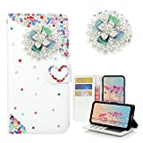 Spritech Galaxy A5(2017) Wallet Case, [Card Slot] [Kickstand Feature] Design Flip PU Leather 3D Handmade Bling Crystal Metal Rhinestones Diamond Wallet Case Cover for Samsung Galaxy A5 2017 Version