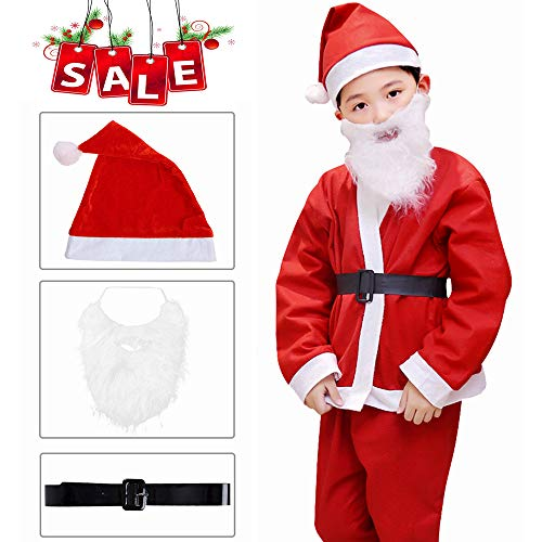 Santa Claus Costume for Boys Kids Santa Costume Boy Santa Claus Costume for Kids Santa Suit,4-5 Year Old, 5 PC (red)