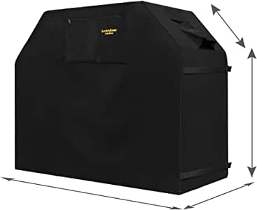 "Grill Cover - garden home Up to 58"" Wide, Water Resistant, Air Vents, Padded Handles, Elastic hem cord - Heavy Duty burner gas BBQ grill Cover"
