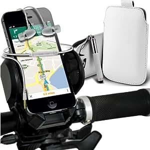 Nokia Lumia 510 premium protección PU ficha de extracción de deslizamiento del cable En caso de la cubierta de la piel de la bolsa de bolsillo, superior de la calidad en auriculares de botón estéreo de manos libres de auriculares Auriculares con micrófono Mic y botón de encendido y apagado, retráctil Sylus pluma y universal de bicicletas Bike Mount Holder Soporte horquilla del soporte grados de rotación Blanco Manillar Soporte 360 ??por Spyrox
