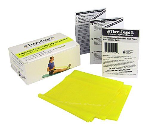 TheraBand Resistance Bands, 5 Foot, 15 Count Professional Latex Elastic Bands For Upper & Lower Body Exercise, Physical Therapy, Pilates, Home Workouts, Rehab, Yellow, Thin, Beginner Level 2 by TheraBand (Image #1)