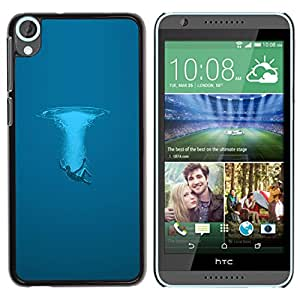 KLONGSHOP // Cubierta de piel con cierre a presión Shell trasero duro de goma Protección Caso - Azul Splash - HTC Desire 820 //