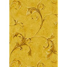 MODENA - Classic Floral Elegant Beige, Yellow Wallpaper Sample
