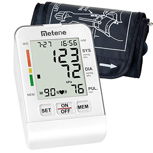 Metene Upper Arm Blood Pressure Monitor Cuff Kit with Large LCD Display, Irregular Heartbeat Monitoring Fully Automatic Fast & High Accuracy Reading (90 Reading ()