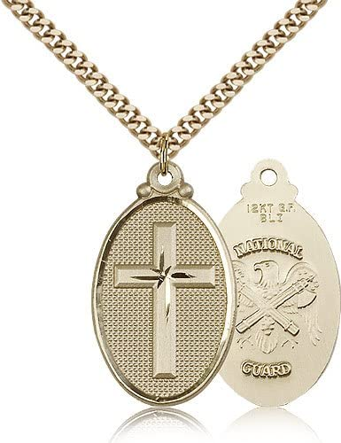 National Guard Medals Cross Gold Plated Cross National Guard Pendant Including 24 Inch Necklace