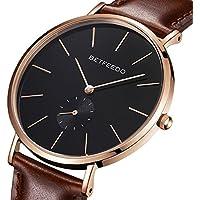 [Patrocinado] BETFEEDO - Reloj minimalista para hombre, cuarzo clásico, con correa de piel, esfera de cerámica