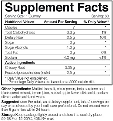 Veggie Fiber Gummy, Sugar Free Fiber Dietary Supplement with Natural ingredients, Natural Soluble Fiber Supplements for Adults & Kids, Gluten Free, NON GMO by Natural Foods 360, Made In USA