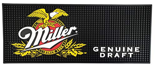 "Miller Genuine Draft Beer Rectangular Bar Mat Spill Mat Rail Drip Mat - 20.5"" x 8.25"""
