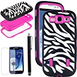 SQdeal?? 3-Piece Hybrid High Impact zebra print Case Cover For Samsung Galaxy S3