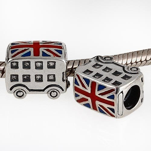 London Double Decker Bus Charm - 925 Sterling Silver British Flag Enamel Bead - for European Style by Travel Charms (Image #2)